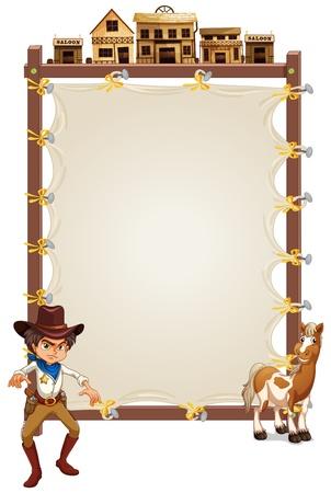 letrero: Ilustración de un vaquero y un caballo delante de una señalización vacío sobre un fondo blanco