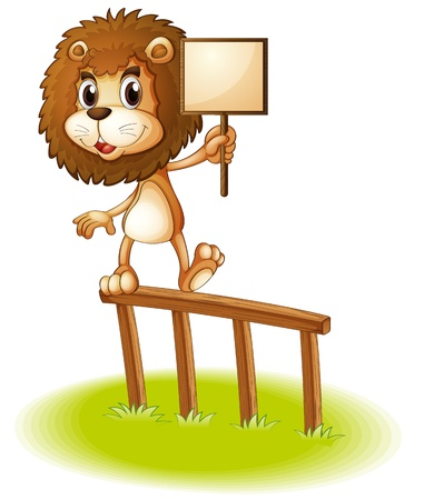 Illustration of a lion standing on a wooden fence holding an empty signboard on a white background Stock Vector - 20366630
