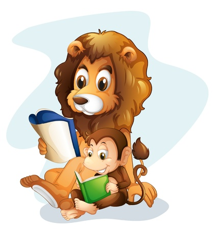 Illustration of a monkey and a lion reading books on a white background Stock Vector - 20366498