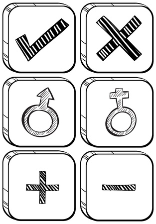 subtraction: Illustration of the doodle design of different buttons on a white background
