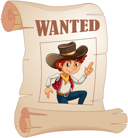 Illustration of a poster of a wanted young cowboy on a white background Vector