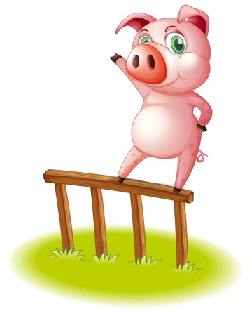 Illustration of a pig standing above the wooden fence on a white background Vector