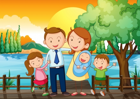 riverside tree: Illustration of a happy family at the wooden bridge