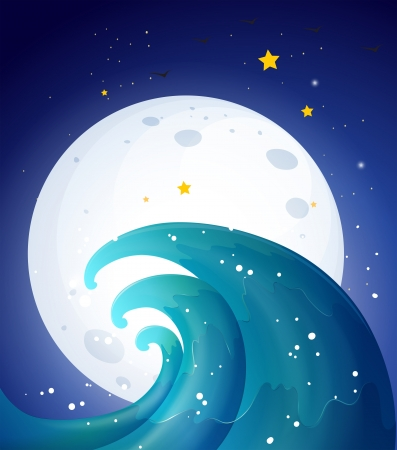Illustration of the moonlight and the waves Vector