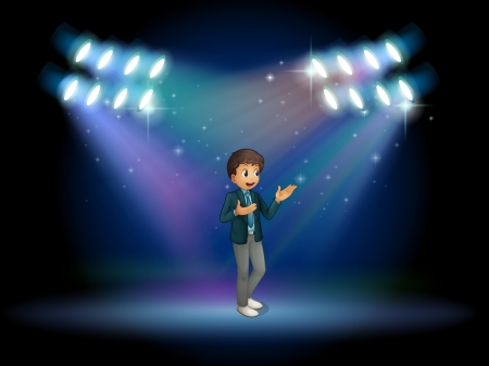 stageplay: Illustration of a teenager in the middle of the stage Illustration