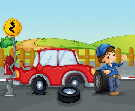 car accident: Illustration of a car accident near the wooden fence Illustration