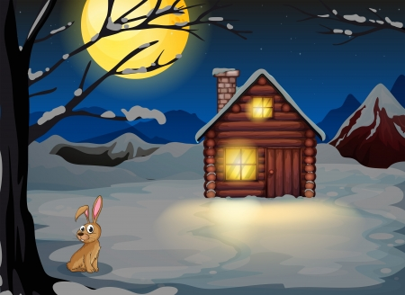 Illustration of a rabbit outside the house in a moonlight scenery  Stock Vector - 20518333
