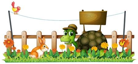 silhouette lapin: Illustration d'une tortue de sourire devant un panneau vide sur un fond blanc