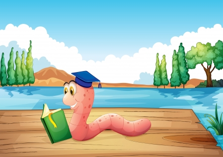 Illustration of a worm reading a book near the pond Stock Vector - 20517905