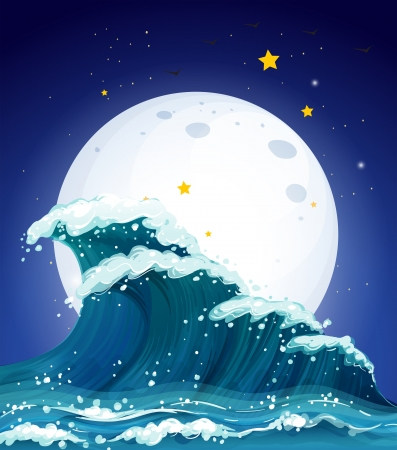 Illustration of the waves and the moon Vector