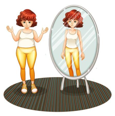 Illustratie van een dik meisje en haar magere reflectie op een witte achtergrond