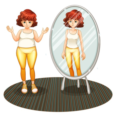 fat girl: Illustration of a fat girl and her skinny reflection on a white background