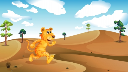 Illustration of a tiger running in the desert Vector