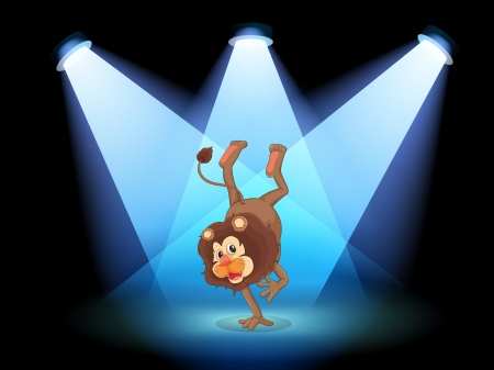 stageplay: Illustration of a dancing lion in the middle of the stage Illustration