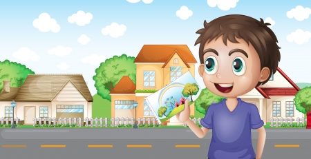street lamp: Illustration of a boy holding a picture in front of the houses near the road
