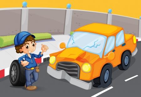 repair man: Ilustraci�n de un coche naranja en la carretera con un neum�tico desinflado Vectores