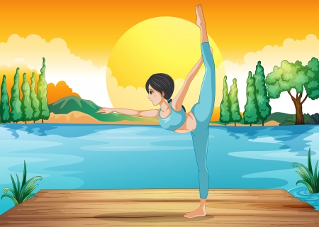 Illustration of a girl performing yoga along the river in a sunset scenery Stock Vector - 20518112