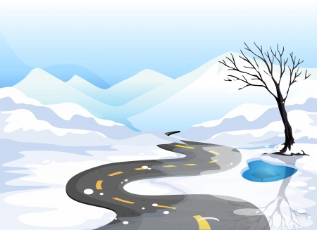 narrow street: Illustration of a long road at the snowy place going to the mountains Illustration