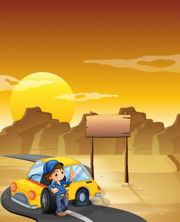 repairing: Illustration of a boy repairing a car near the empty signboard Illustration