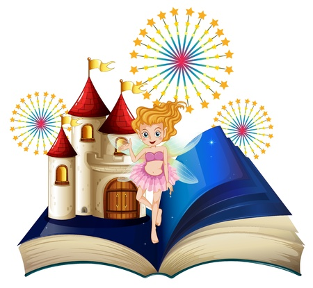 Illustration of a storybook with a fairy, a castle and fireworks on a white background  Vector
