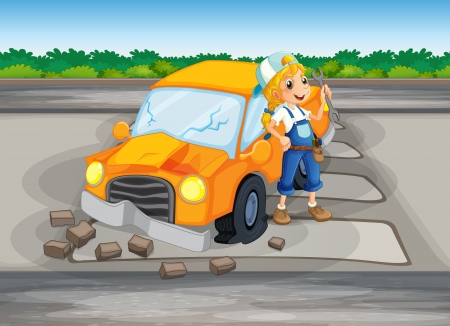 replacing: Illustration of a girl repairing the damaged car at the road