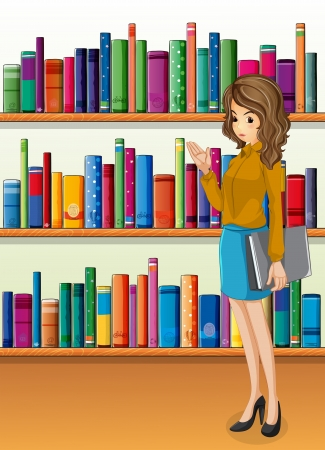 Illustration of a lady holding a binder standing in front of the wooden shelves with books Vector