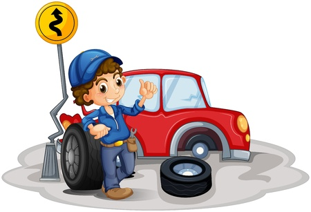 Illustration of a boy fixing a red car on a white background Vector