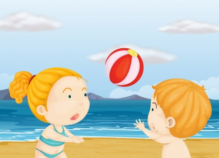 Illustration of the children playing volleyball at the beach Vector