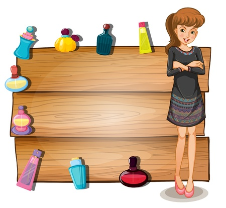 Illustration of a young girl in front of an empty signboard with perfume bottles on a white background Vector