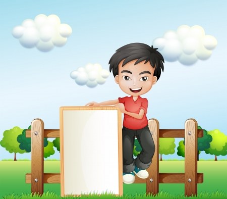 illustration of a boy holding an empty framed signboard Vector