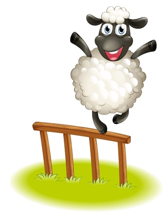 Illustration of a sheep standing above the wooden fence on a white background  Vector