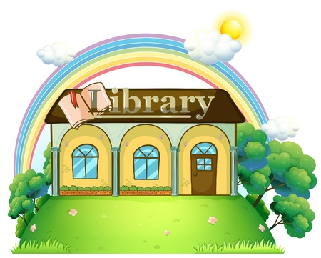 books library: Illustration of a library at the top of the hill on a white background