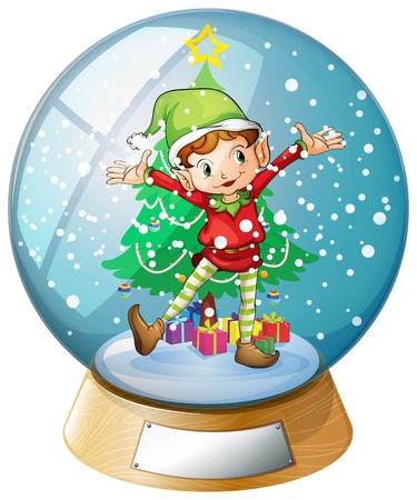 Illustration of an elf in front of a christmas tree inside a snowball on a white background
