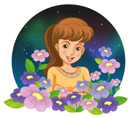 Illustration of a girl surrounded by flowers on a white background
