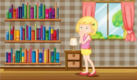 Illustration of a girl inside a house full of books Stock Vector - 20518344
