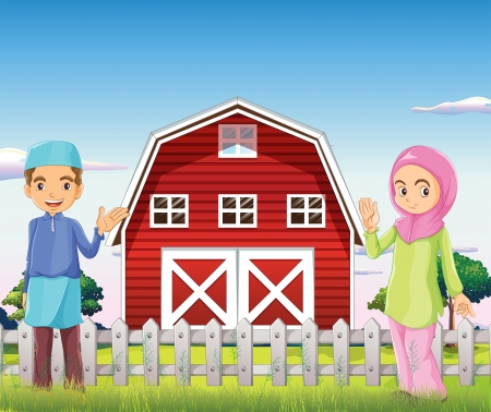 barn girls: Illustration of a male and a female muslim in front of a barnhouse Illustration