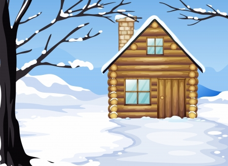 Illustration of a wooden house in a snowy season Vector