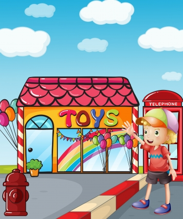 payphone: Illustration of a boy wearing a hat waving outside the toy shop