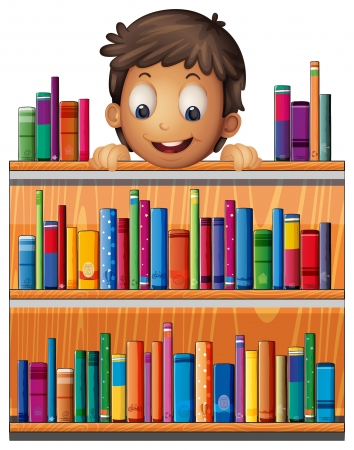 home clipart: Illustration of a boy at the back of a wooden shelves with books on a white background  Illustration