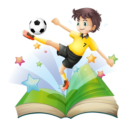 nonfiction: Illustration of an open book with an image of a football player on a white background
