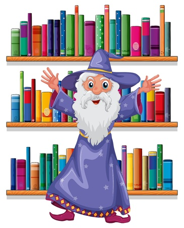 Illustration of a wizard in the library on a white background Stock Vector - 20518089