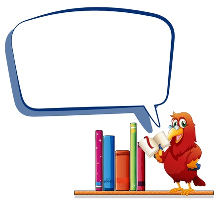 Illustration of a parrot reading a book with an empty callout on a white background Stock Vector - 20517751