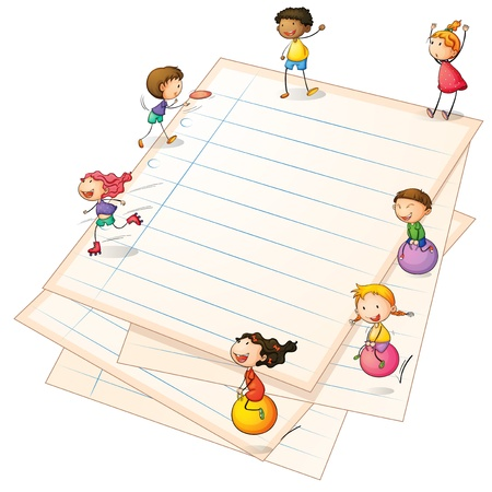 Illustration of the children playing at the paper borders Vector