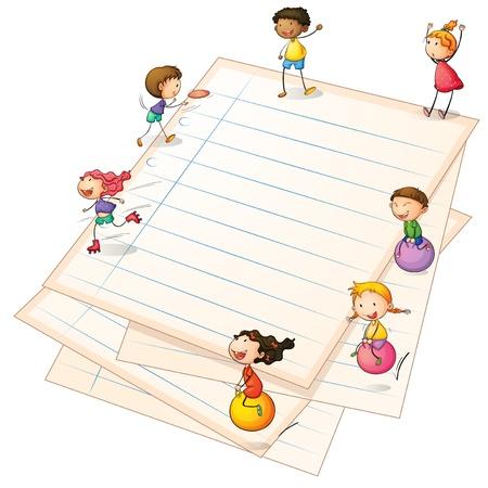 chicos: Ilustración de los niños jugando en las fronteras de papel