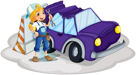 replacing: Illustration of a girl fixing the broken violet car on a white background Illustration