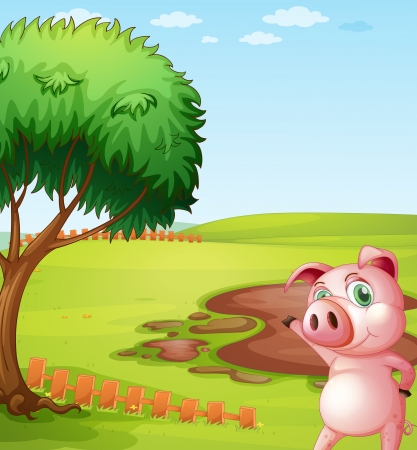 introducing: Illustration of a pig introducing the pig farm