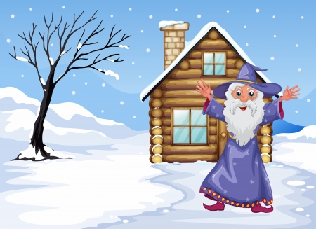 Illustration of a wizard outside the house on a snowy season Vector