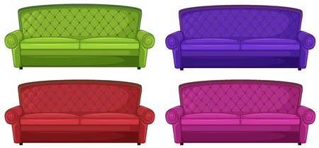 Illustration of the four colorful sofas on a white background Illustration