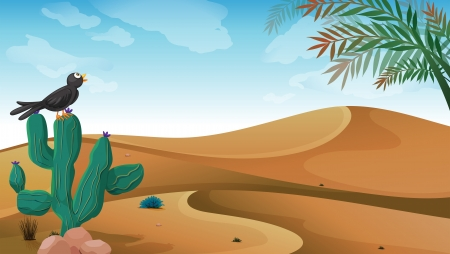 Illustration of a bird above the cactus plant at the desert Vector
