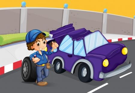 replacing: Illustration of a broken violet car at the road